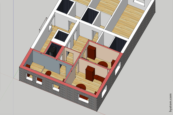 3D model of the office.