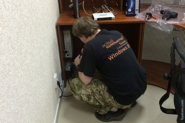 Our system administrator Andrey configures the PBX.